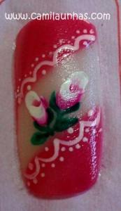unha decorada com flor