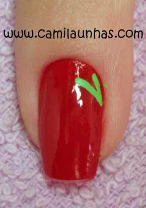unha decorada com morango